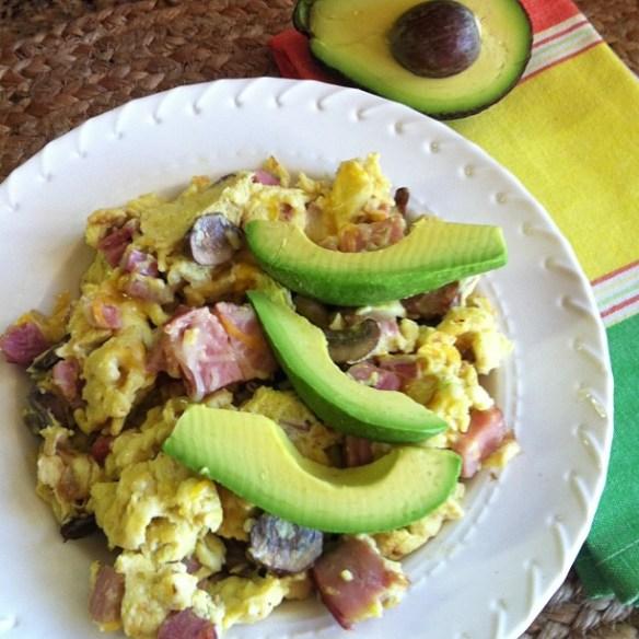 eggs with ham, mushrooms, avocado