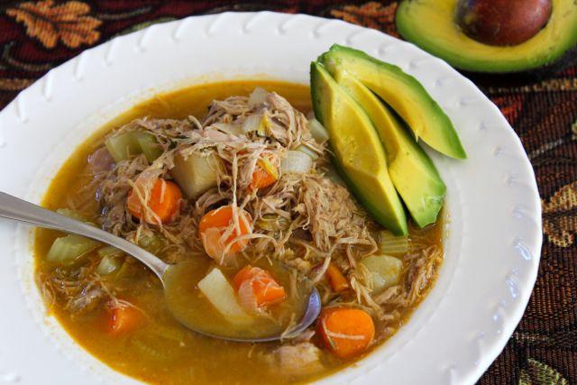turkey soup with avocado