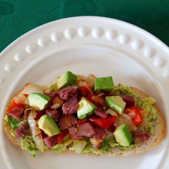 avocado toast with corned beef