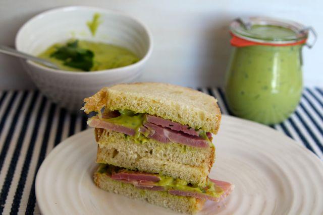 avocado mayo on ham sandwich