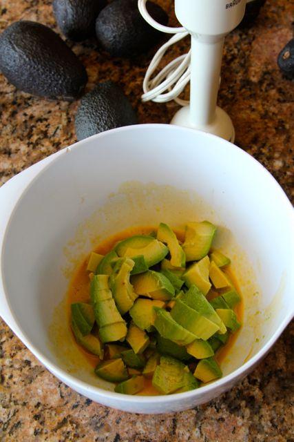 making homemade avocado mayo