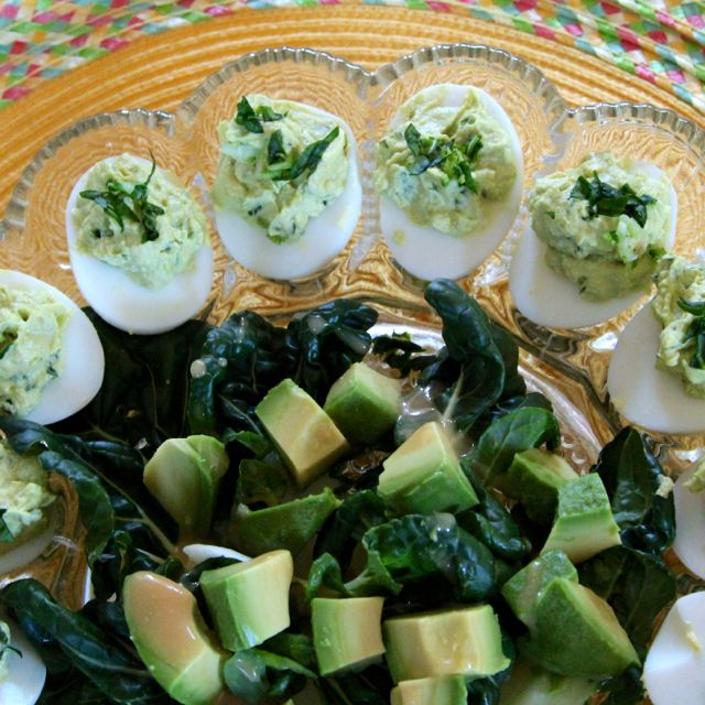 Baby Bok Choy and Avocado Deviled Eggs