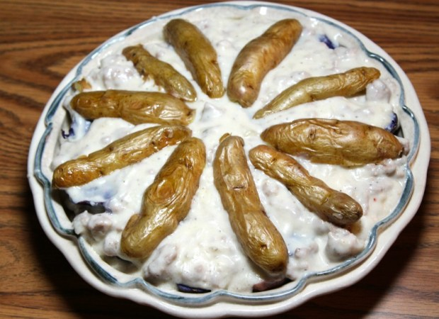 fingerling potato spokes on top of pie