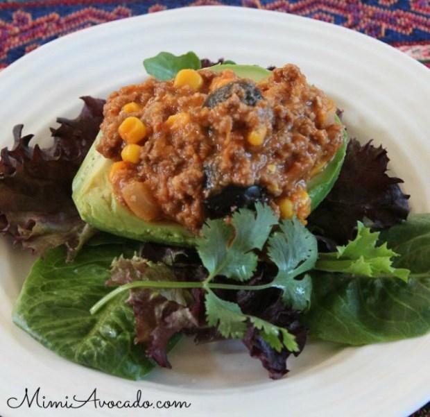 avocado stuffed with tamale pie