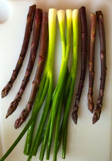 green onions and purple asparagus