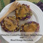 sweet potato patties with pistachios