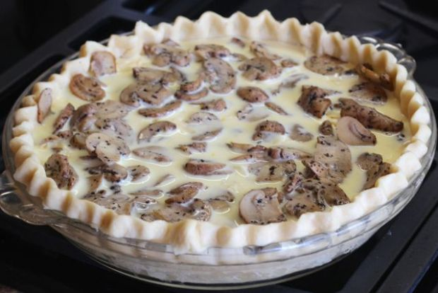 nutmeg mushrooms on quiche
