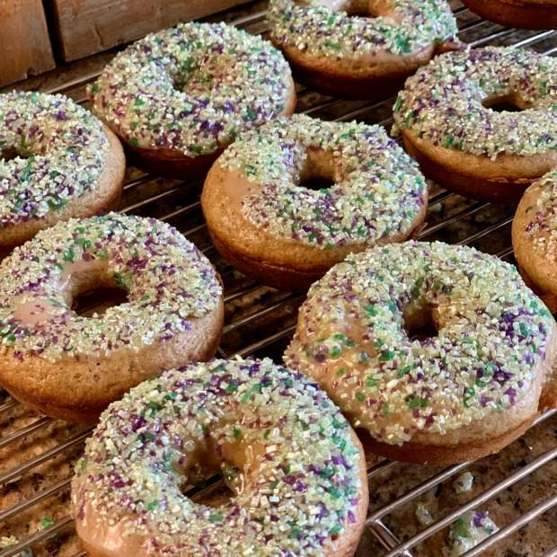 glazed baked applesauce donuts