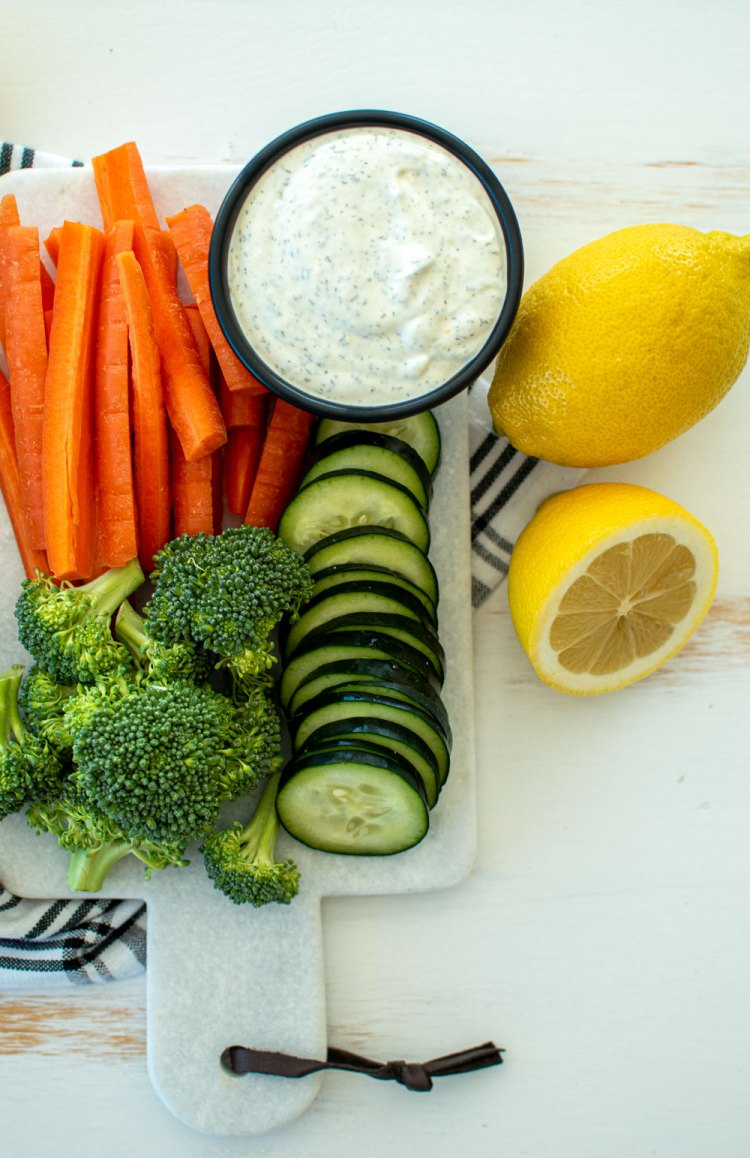 Easy Dill Dip recipe using simple ingredients, made with sour cream and mayo. This easy and delicious recipe for Dill Dip is perfect for a veggie platter or to eat with chips #dilldip #appetizer #healthyrecipe #veggieplatter #charcuterieboard #easyrecipe #dill