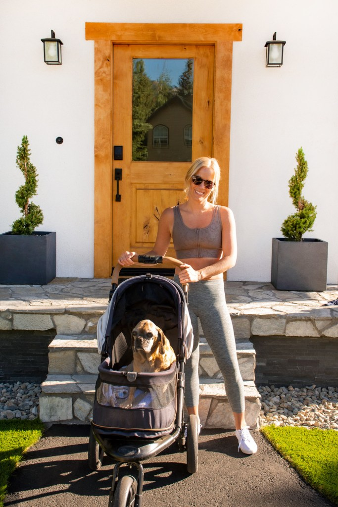 Dog stroller, workout with your dog, fit woman working out with dog, fit foodie