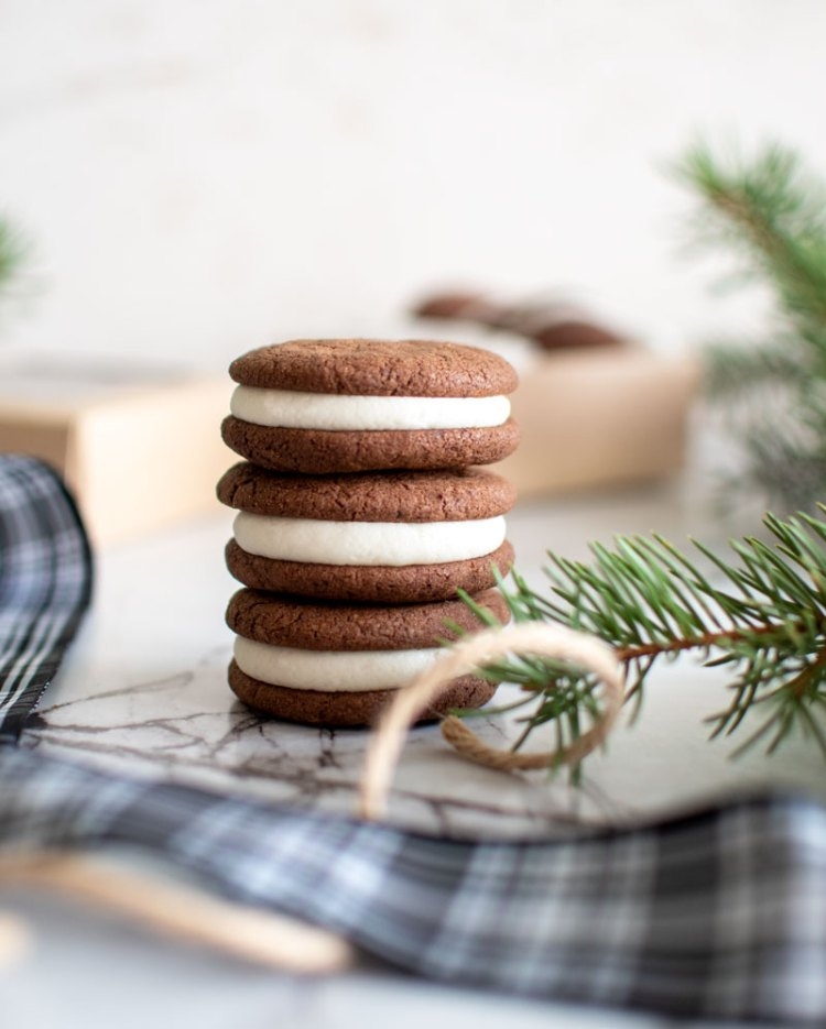 From scratch Mint Chocolate Sandwich Cookies are better than Christmas Oreos because these are made with entirely organic ingredients. Not only that, but this recipe can be made gluten free with one simple adjustment and can also be baked at high altitude. Stock your pantry with this Christmas cookie favorite #oreos #mint #peppermint #mintchocolate #homemadeoreos #christmascookies #hoildaycookies #glutenfree #glutenfreecookies #glutenfreeoreos