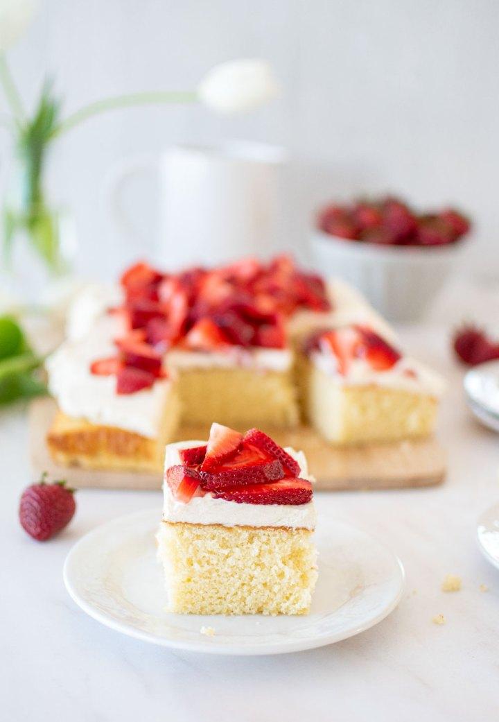 Easy fresh Strawberry Whipped Cream Cake recipe that's perfect for summer! Easy vanilla sheet cake recipe topped with whipped cream frosting and fresh strawberries. This easy cake recipe is perfect for any summer party, and is one that everyone will love! #cake #organiccake #highaltitudebaking #glutenfreecake #cakerecipe #vanillacake #sheetcake #whippedcreamfrosting #whippedcream #freshstrawberries