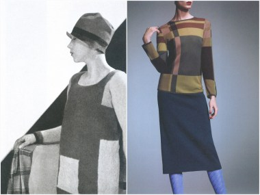 left: Schiaparelli, Vogue Paris – February 1927, photo by George Hoyningen-Huene. Right: Prada F/W 1996-1997, photo by Toby McFarlan Pond.