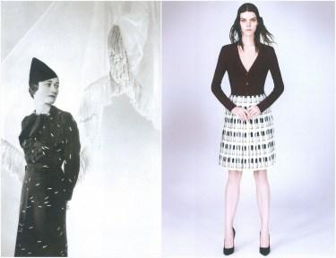 left: Schiaparelli, British Vogue – July 1935, photo of Wallis Simpson Duchess of Windsor by Cecil Beaton. right: Prada S/S 2000, photo by David Sims.