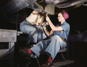 Women working on a bomber, Douglas Aircraft Company in Long Beach, CA 1942.