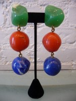 Yves Saint Laurent by Loulou de la Falaise designed resin jade, coral, blue earrings, c. 80s. 4""
