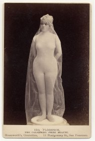 """Ida Florence, """"The California Prize Beauty,"""" in body stocking covered with transparent fabric, posed as statue. Image: Charles H. McCaghy Collection"""