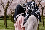 "Headless girls meeting at the park. Photography Wendelien Daan. Silk scarf ""stallion""; Mimi Berlin, clohes models' own."