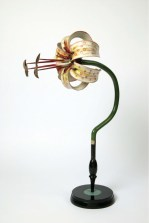 Model of a lily flower. The base is made of wood and flower paper mache. Made by Brendel & Company, Germany. ca 1920