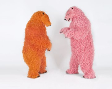 (left) paola pivi 'I never danced before', 2013 urethane foam, plastic, feathers 214 x 90 x 104 cm / 84 1/4 x 35 1/2 x 41 inches (right) 'sometimes I have to stand for my safety', 2013 urethane foam, plastic, feathers 224 x 94 x 97 cm / 88 1/4 x 37 x 38 1/4 inches photograph by guillaume ziccarelli / courtesy galerie perrotin