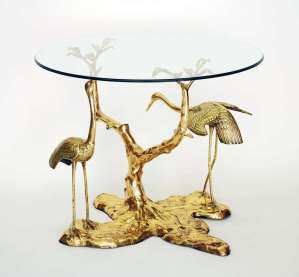 """Stunning Brass Table """"Cranes in Foliage"""" attributed to Willy Daro"""