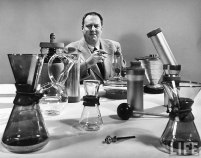 Schlumbohm and a few of his inventions, as shown in LIFE magazine in 1949