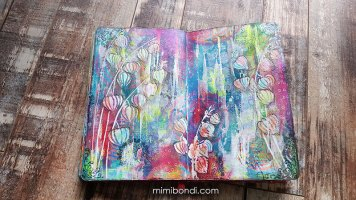Mixed media art journal page by Mimi Bondi