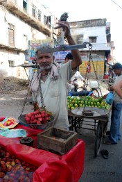 Litchi vendor in Jaipur, North Western India