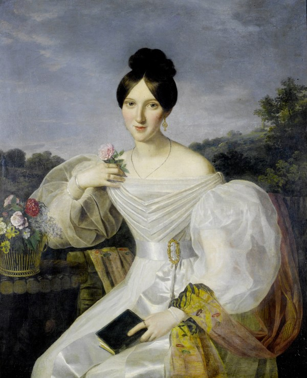 19th Century Lady in White Dress