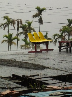 A pair of school chairs on the roof