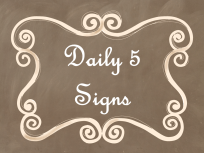 Daily 5 Signs Brown Chalkboard AD PNG