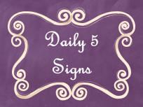 Daily 5 Signs Purple Chalkboard AD PNG