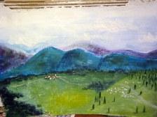 Slovenská akrylová krajinka, bryndza z nej tečie :D