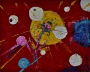 Space bloom, 30x40cm Acrylic on canvas, SEK 4000,00