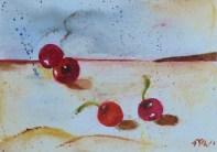 Talking with my shadow, 15x10cm in A4 cardboard passepartout, watercolor on paper, SEK 1500,00