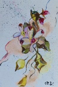 Folding in, 15x10cm in A4 cardboard passepartout, watercolor on paper, SEK 1500,00