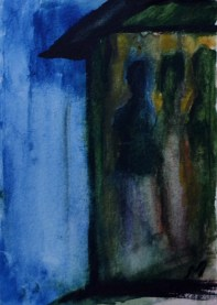 The full and the empty, 15x10cm in A4 cardboard passepartout, watercolor on paper, SEK 1500,00