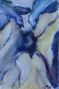 Void called home, 15x10cm in an A4 cardboard passepartout, watercolor on paper, SEK 1500,00