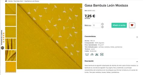 gasa bambula león mostaza