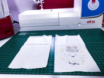 Transfer hecho y bolsa preparada para coser