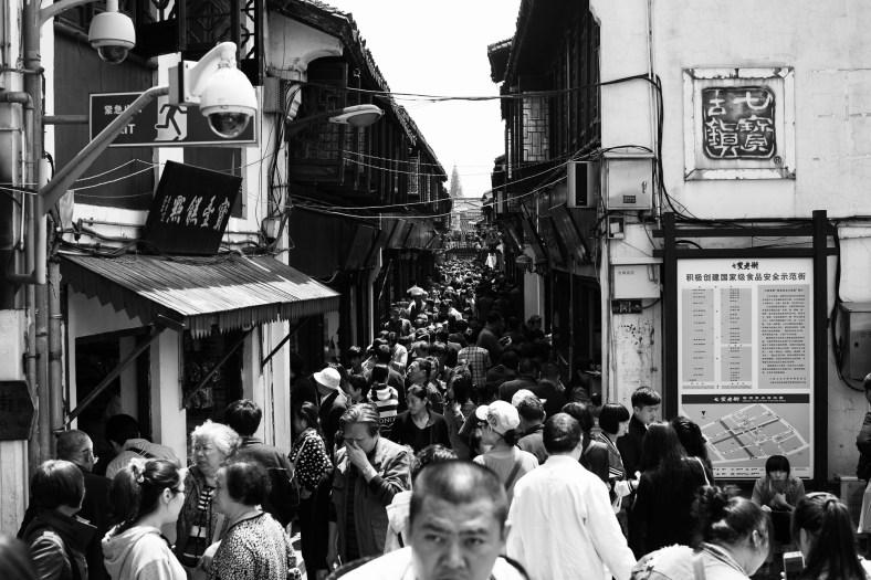 a controlled sea of humanity~ Qibao