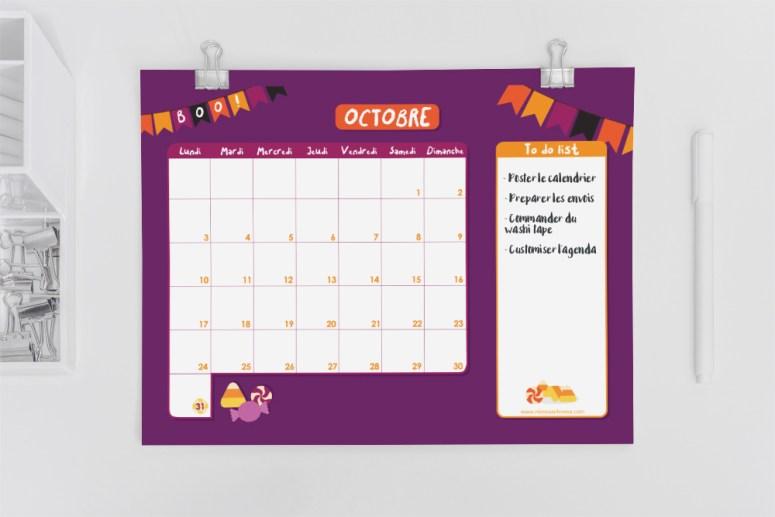 Calendrier d'Octobre 2016 avec to do list à télécharger