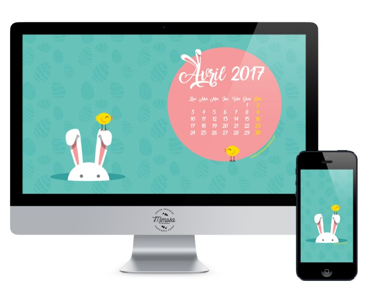 Calendrier d'avril à télécharger, free printable