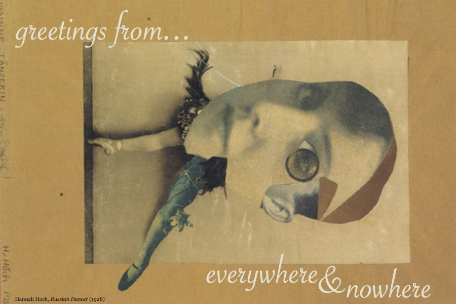 post card with Hannah Hoch collage