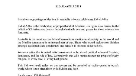 Perdana Menteri Australia Sampaikan Ucapan Idul Adha