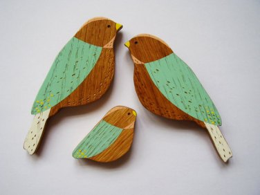 Famille oiseaux en bois Anna Wiscombe