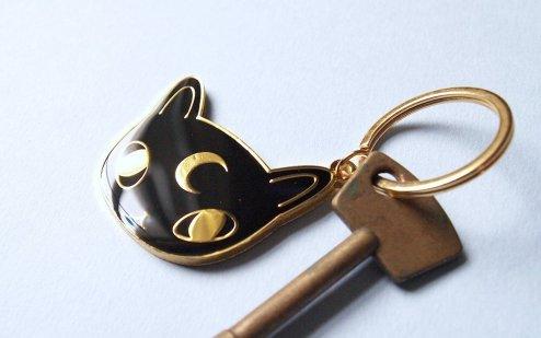 porte clefs moon chat noir