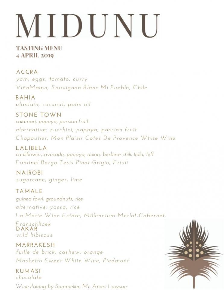 Printable Sample Dinner Menu — Midunu Wine Tasting Menu