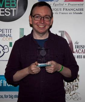 James and his Best Screenplay award Pic: Dublin Web Fest
