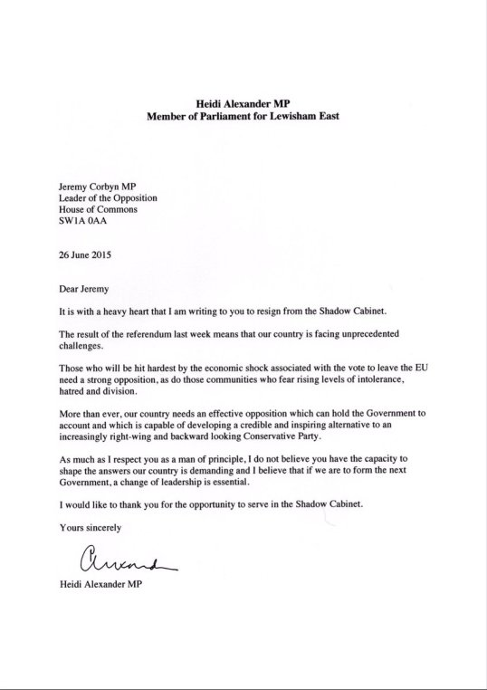 Letter From MP Heidi Alexander To Jeremy Corbyn On Brexit